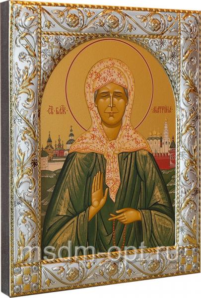 Матрона Московская блаженная, икона  в посеребренной рамке, золочение, 140 х 180 мм (арт.00873-55)