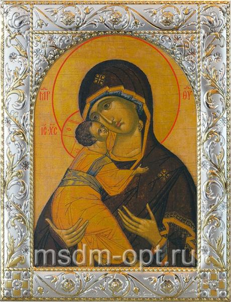 Владимирская икона Божией Матери, икона  в посеребренной рамке, золочение, 140 х 180 мм (арт.02094-55)
