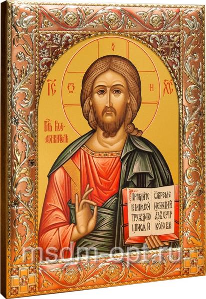Венчальная пара икон Господь Вседержитель (арт.04106-55) и Божия Матерь Владимирская (арт.4206-55) в посеребренной рамке, золочение, красная эмаль, 140 х 180 мм