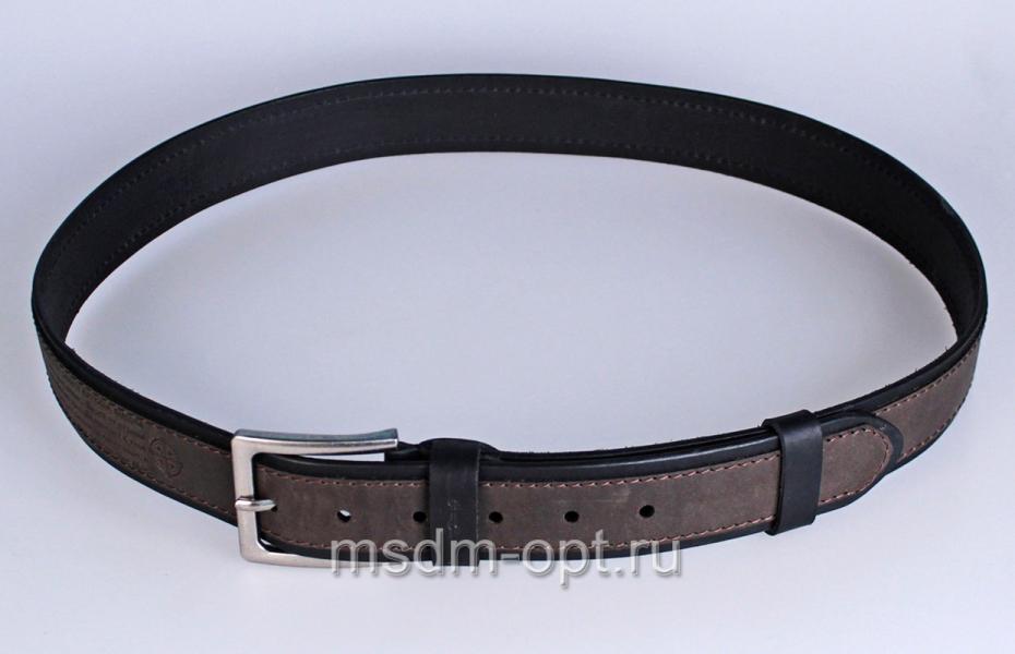00412 Пояс ремень мужской кожаный, однослойный, прошитый. Фигурная пряжка. 40 мм (арт.МТ5)