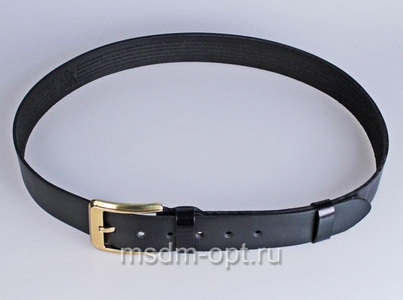 00411 Пояс ремень мужской кожаный, однослойный, прошитый. Фигурная пряжка. 40 мм (арт.МТ5)