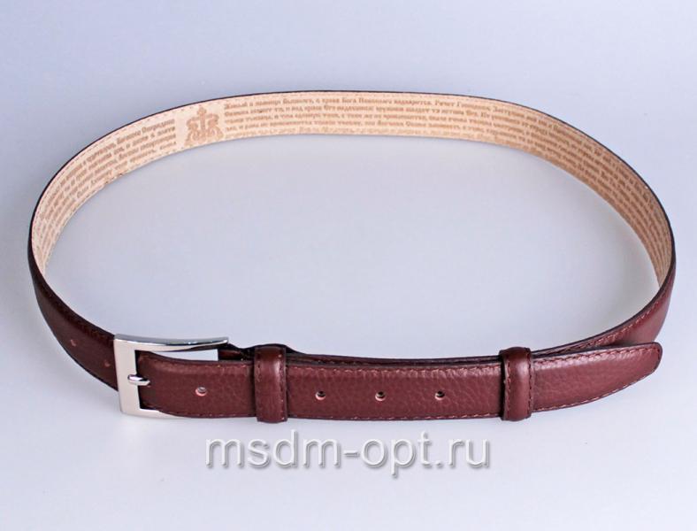 00213 Пояс ремень  кожаный узкий, трехслойный, прошитый, не прошитый. Ширина 30 мм (арт.МП2)  бордо