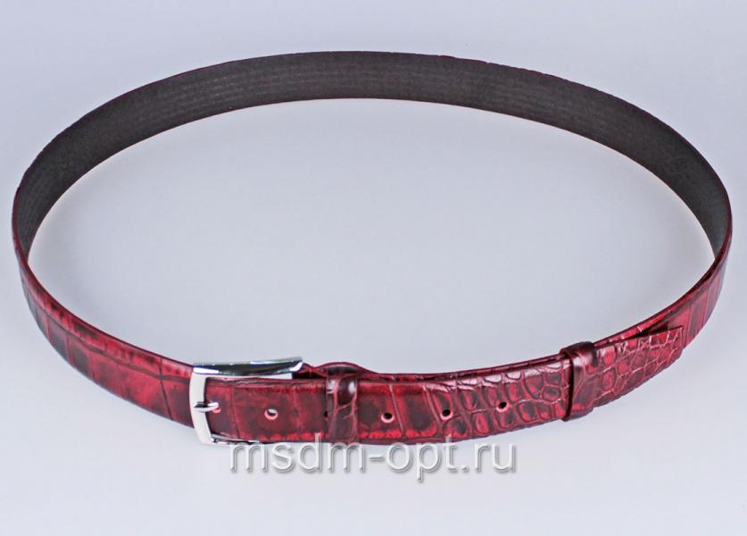 00116 Пояс ремень  кожаный, трехслойный, прошитый. 35 мм (арт.МП1) бордовый, тиснение крок.
