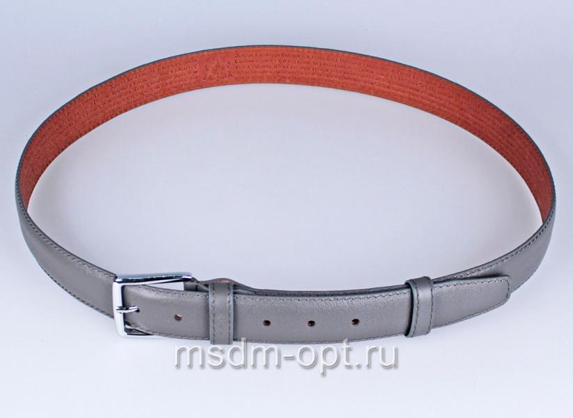 00118 Пояс ремень  кожаный, трехслойный, прошитый. 35 мм (арт.МП1) 00118 серый