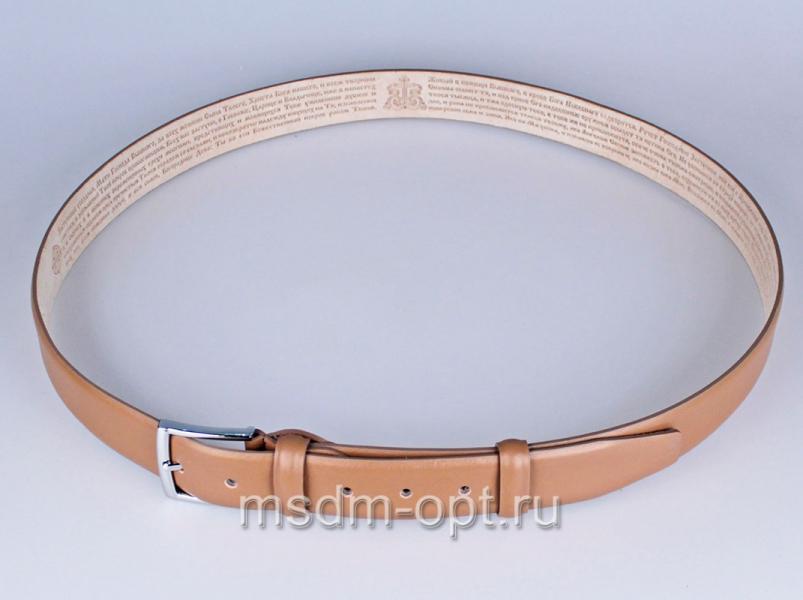 00115 Пояс ремень  кожаный, трехслойный, прошитый. 35 мм (арт.МП1)  бежевый