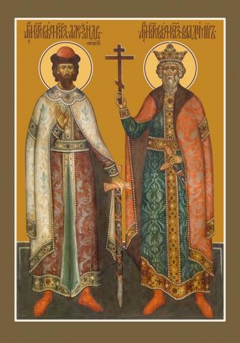 Александр Невский и Владимир благоверные князья, икона (арт.6439)