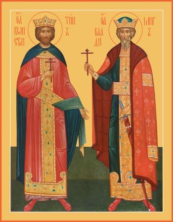 Константин царь и Владимир великий князь, равноапостольные, икона (арт.6445)