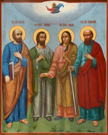 Петр и Павел апостолы, Флор и Лавр мученики, икона (арт.659)