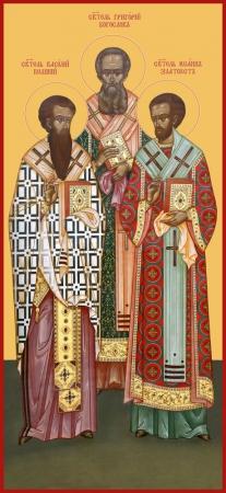 Василий, Григорий, Иоанн святители, икона (арт.6639)