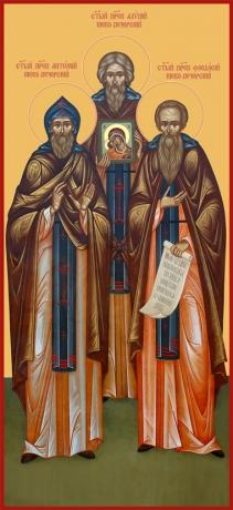 Антоний, Алипий, Феодосий Печерские преподобные, икона (арт.6640)