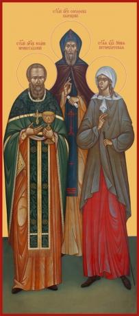 Иоанн Кронштадский праведный, Серафим Вырицкий преподобный, Ксения Петербургская блаженная, икона (арт.6644)
