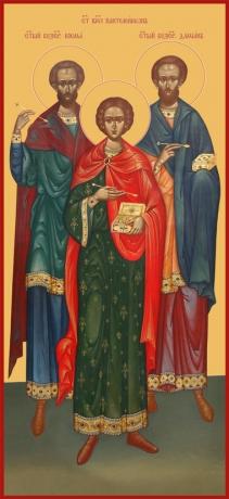 Косьма, Дамиан, Пантелеимон мученики целители, икона (арт.6645)