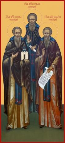 Зосима, Савватий и Герман Соловецкие преподобные, икона (арт.6646)