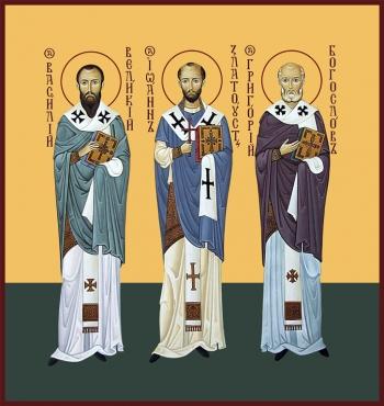Василий Великий, Иоанн Златоуст, Григорий Богослов, святители, икона (арт.6707)