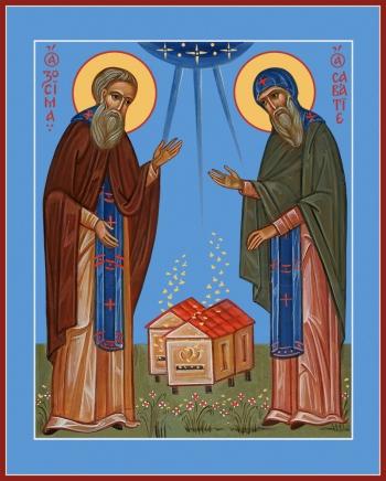 Зосима и Савватий Соловецкие преподобные, икона