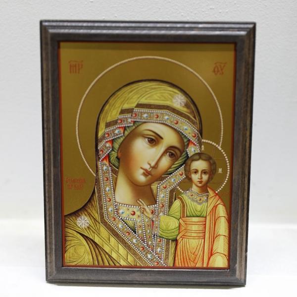 Казанская икона Божией Матери, икона на деревянном основании (АРТ.55210-ОД)