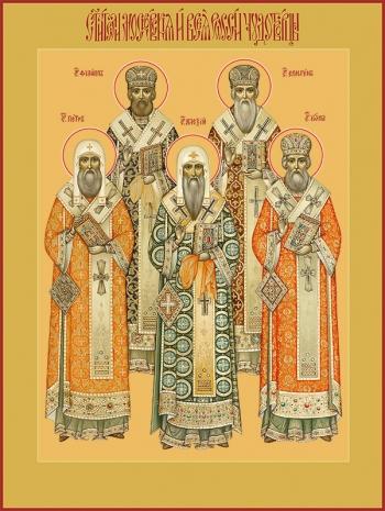 Петр, Алексий, Иона, Филипп, Ермоген, святители московския и всея России чудотворцы, икона (арт.720)