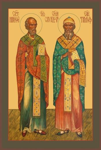 Николай Чудотворец и Спиридон Тримифунтский, святители, икона (арт.735)