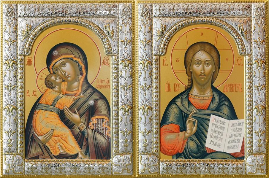 Венчальная пара икон Господь Вседержитель (арт.06105-85) и Божия Матерь Владимирская (арт.0378-85)  в посеребренной рамке, золочение, 180 х 240 мм