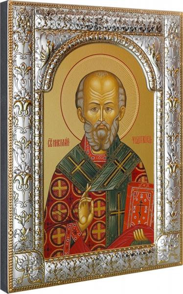 .Николай чудотворец, архиепископ Мир Ликийских, святитель, икона в посеребренной рамке, золочение, 180 х 240 мм (арт.00728-85)