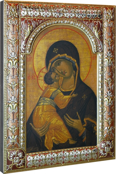 Венчальная пара икон Господь Вседержитель (арт.01047-285) и Божия Матерь Владимирская (арт.02094-285)  в посеребренной рамке, золочение, красная эмаль, 180 х 240 мм