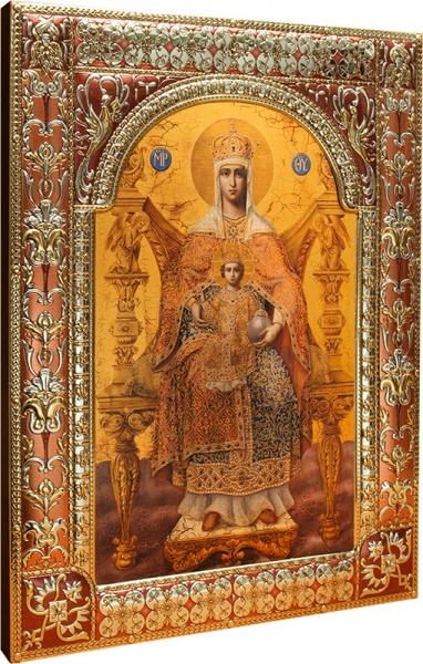Венчальная пара икон Господь Вседержитель (арт.04129-285) и Божия Матерь Державная (арт.04229-285) в посеребренной рамке, золочение, красная эмаль, 180 х 240 мм