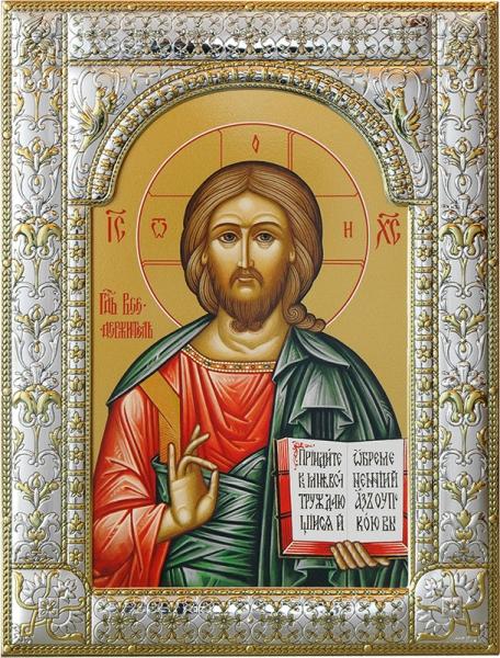 Господь Вседержитель, икона в посеребренной рамке, золочение, 180 х 240 мм (арт.04106-85)
