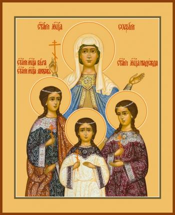 Вера, Надежда, Любовь и их матерь София мученицы, икона (арт.977)