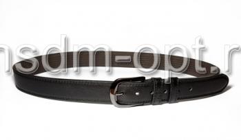 00111 Пояс ремень мужской кожаный, трехслойный, прошитый. 35 мм (арт.МП1) черный