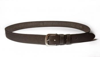 00612 Пояс ремень мужской кожаный, однослойный, гладкий, прошитый. 35 мм (арт.МП6) коричневый