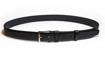 01011 Пояс ремень мужской кожаный, однослойный, тиснение строчки, прошитый. 35 мм (арт.МП10) черный