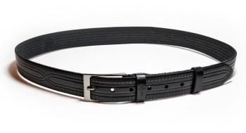 01211Пояс ремень мужской кожаный, однослойный, тиснение рисунка. 35 мм (арт.МП12) черный