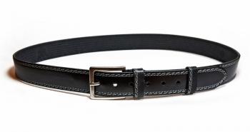 00511 Пояс ремень мужской кожаный, однослойный, не прошитый. 40 мм (арт.МП5) черный