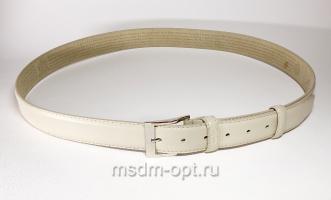 00116 Пояс ремень мужской кожаный, трехслойный, прошитый. Ширина 35 мм (арт.МП1) белый