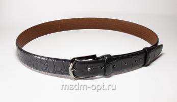 00111 Пояс ремень мужской кожаный, трехслойный, прошитый. Ширина 35 мм (арт.МП1) черный, тиснение крок