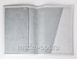Обложка паспорт, тиснение Ангел Хранитель, крыло пластик  (арт.МО41А) белая