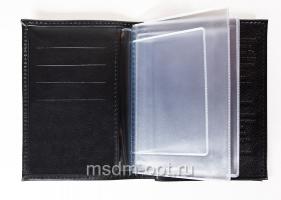 Обложка для авто документов, тиснение молитва св. Матроне Московской,  крыло кожа с визитницей, паспорт (арт.МВ53М) черная