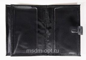 Обложка для авто документов, тиснение молитва Иисусова, крыло кожа с визитницей, паспорт, застежка кнопка (арт.МВ63И) черная