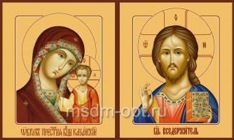 Венчальная пара икон Господь Вседержитель (арт.00106) и Божия Матерь Казанская (арт.00206)