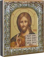 Господь Вседержитель, икона  в посеребренной рамке, золочение,  88 х 104 мм (арт.00110-15)