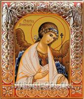 Ангел Хранитель, икона  в посеребренной рамке, золочение, красная эмаль, 88 х 104 мм (арт.00157-15)