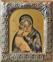 Владимирская икона Божией Матери, икона  в посеребренной рамке, золочение, красная эмаль, 88 х 104 мм (арт.00378-15)