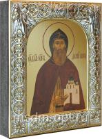 Даниил Московский благоверный князь, икона  в посеребренной рамке, золочение, 88 х 104 мм (арт.00412-15)