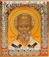 .Николай чудотворец, архиепископ Мир Ликийских, святитель, икона  в посеребренной рамке, золочение, красная эмаль, 88 х 104 мм (арт.00702-15)