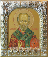.Николай чудотворец, архиепископ Мир Ликийских, святитель, икона  в посеребренной рамке, золочение,  88 х 104 мм (арт.00728-15)