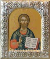 Господь Вседержитель, икона  в посеребренной рамке, золочение,  88 х 104 мм (арт.06105-15)