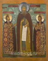 Феодор Смоленский и чада его Константин и Давид, благоверные князья, Ярославские чудотворцы, икона  (арт.04800)