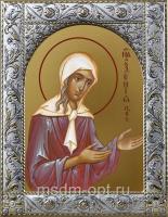 Ксения Петербургская блаженная, икона в посеребренной рамке, золочение,  140 х 180 мм (арт.55016-01)