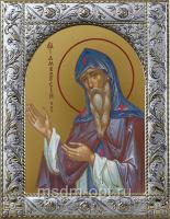 Амвросий Оптинский преподобный, икона в посеребренной рамке, золочение,  140 х 180 мм (арт.55021-01)