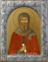 Антоний Великий преподобный, икона  в посеребренной рамке, золочение,  140 х 180 мм (арт.55024-01)